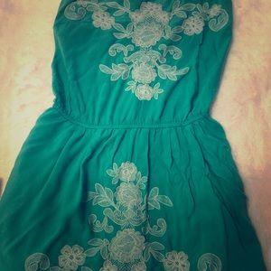 Teal billabong strapless floral dress m
